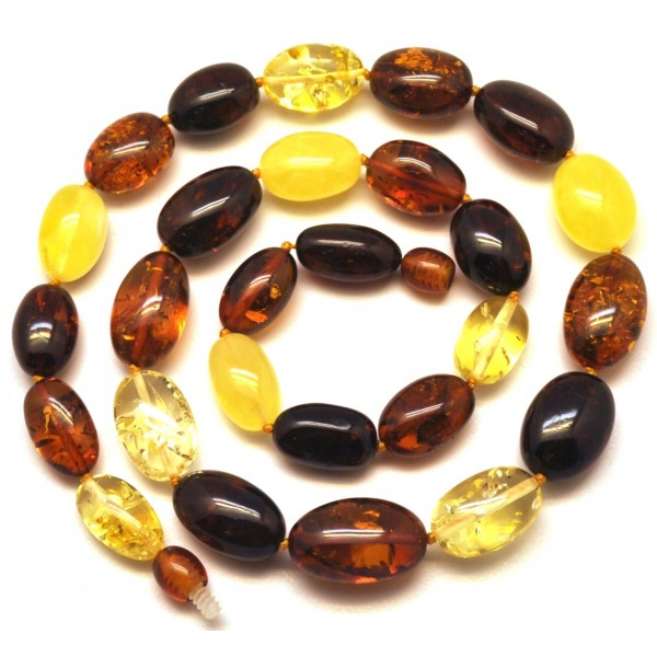 Multicolor olive shape Baltic amber necklace -AN1939