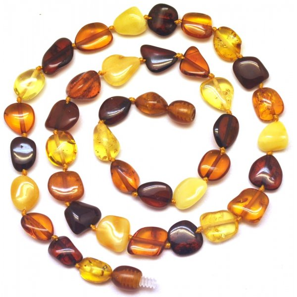Short multicolor bean shape Baltic amber necklace-AN2004