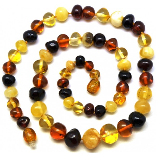 Amber necklaces | Baroque beads multicolor Baltic amber short necklace