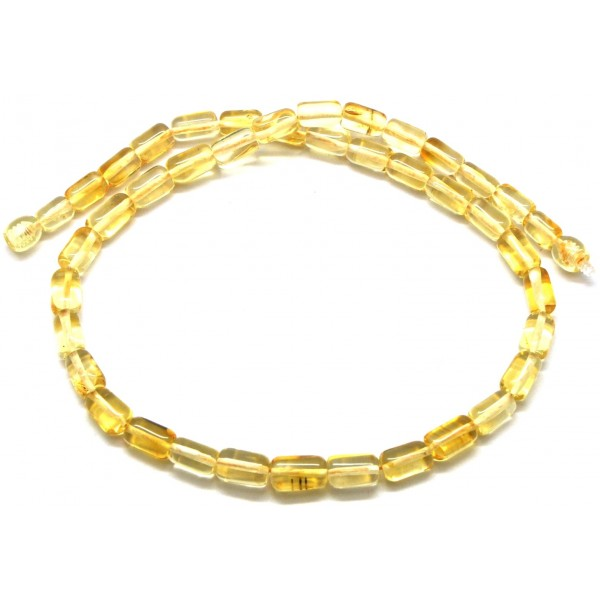 Amber necklaces | Barrel shape lemon Baltic amber necklace