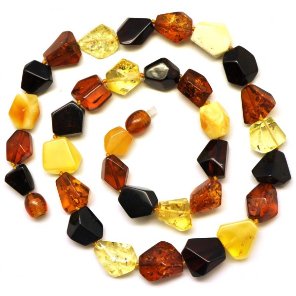 Amber necklaces | Multicolour faceted Baltic amber necklace