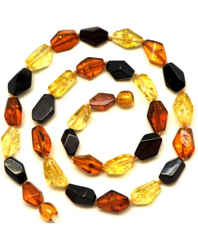 Multicolour faceted Baltic amber necklace