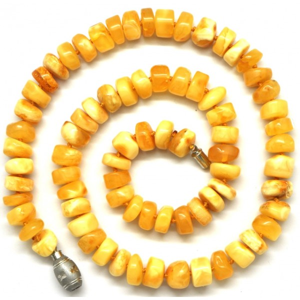 Amber necklaces | Barrel shape antique Baltic amber necklace