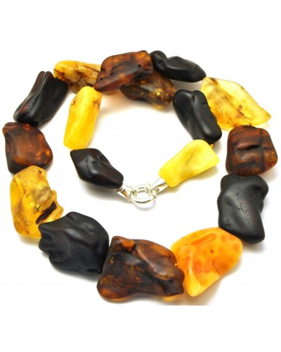 Natural shapes unpolished long Baltic amber necklace 161 g .