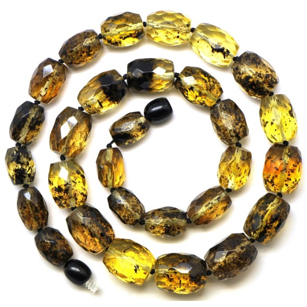 Amber necklaces | Green faceted barrel shape Baltic amber necklace