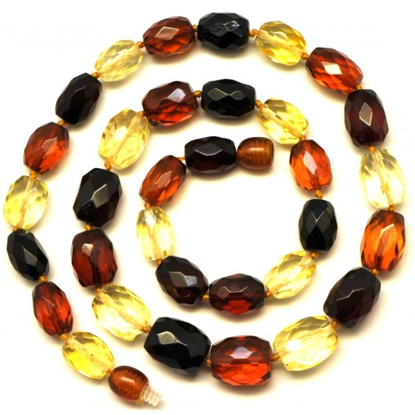 Multicolour faceted Baltic amber necklace-AN1501