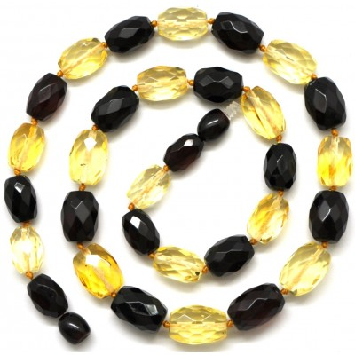Multicolour faceted Baltic amber necklace-AN1618