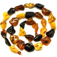Natural shapes long Baltic amber necklace