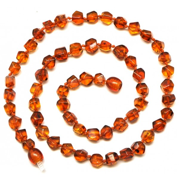 Short faceted cognac Baltic amber necklace-AN1730