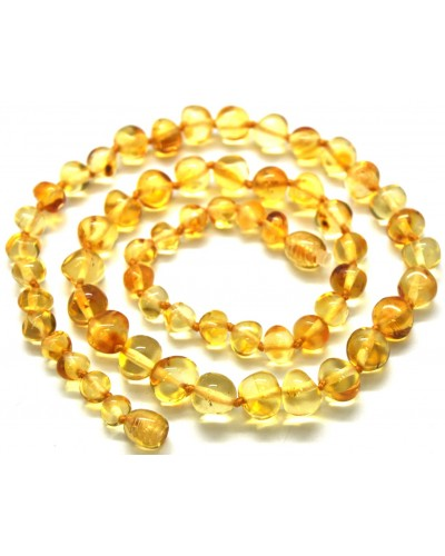 Baroque beads lemon Baltic amber short necklace