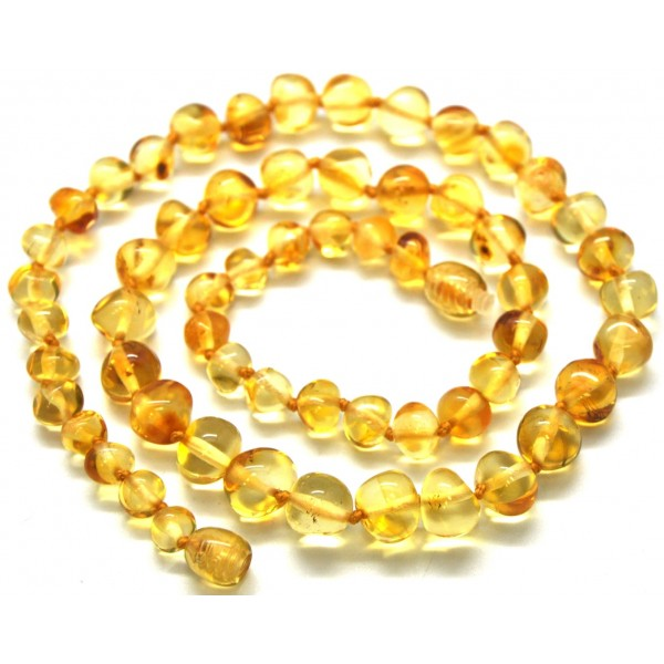 Amber necklaces | Baroque beads lemon Baltic amber short necklace