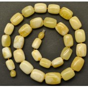 Barrel shape white Baltic amber necklace 40 g .
