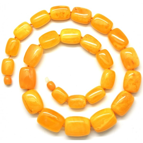 Amber necklaces | Barrel shape antique Baltic amber necklace 52 g .