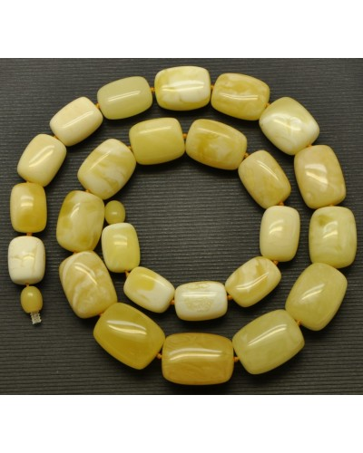 Barrel shape yellow - white Baltic amber necklace 56 g .