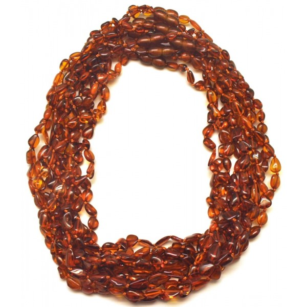 10 Baltic amber beans necklaces-AN2165