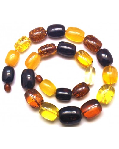 Barrel shape Baltic amber necklace 59 g .