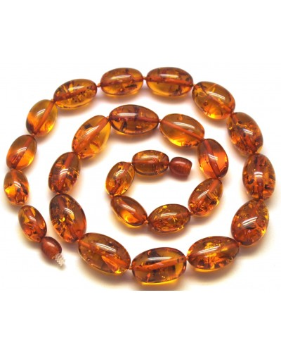 Olive shape cognac  Baltic amber necklace