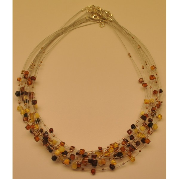 Amber necklaces | Lot of 10 faceted beads Baltic amber wire necklaces