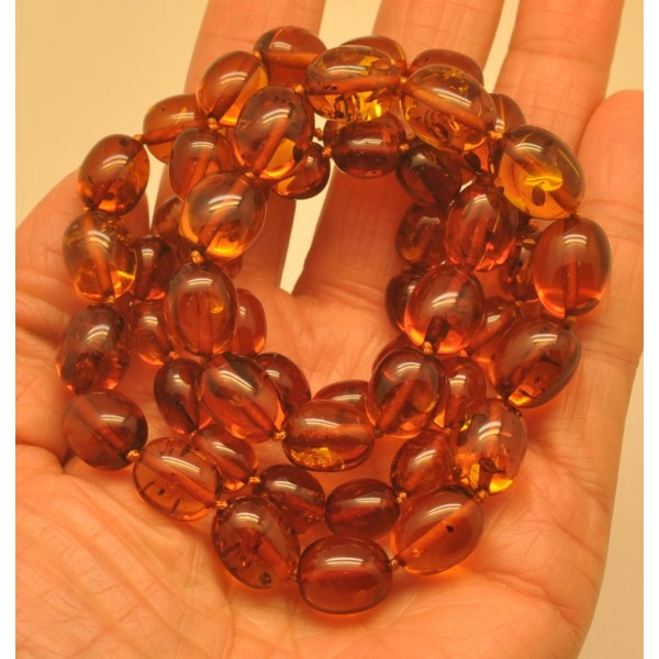 Amber necklaces | Olive shape long cognac Baltic amber necklace