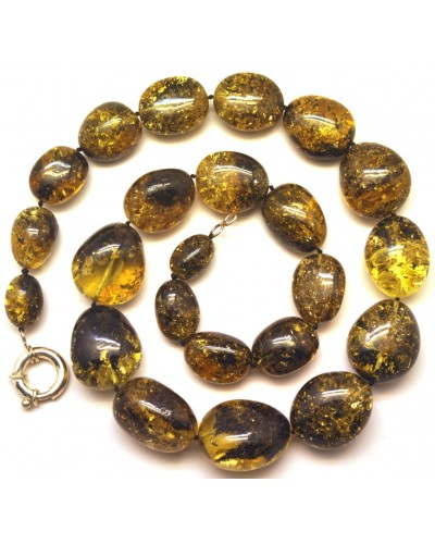 Green amber beads necklace 110g