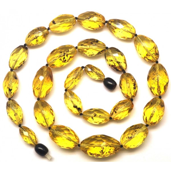 Amber necklaces | Natural green faceted amber olive necklace