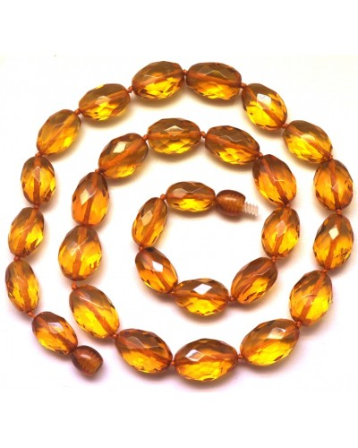 Faceted amber olive necklace