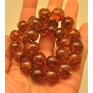 Baroque beads cognac Baltic amber necklace-AN2170