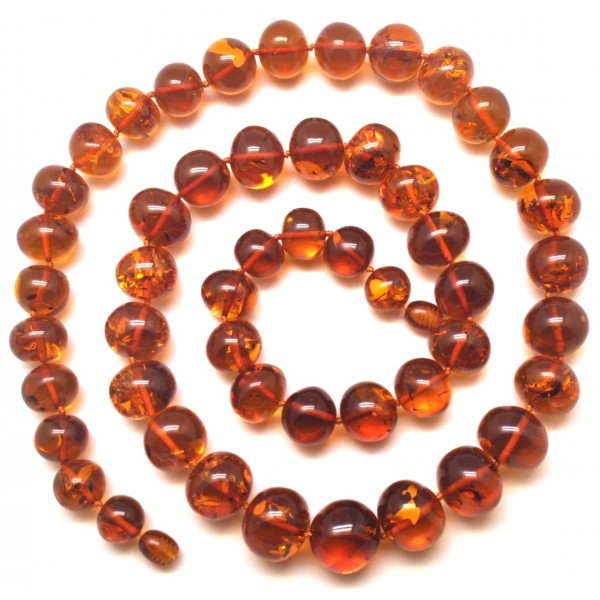 Baroque beads long cognac Baltic amber necklace-AN2173