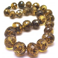 Baroque beads short faceted Baltic amber necklace 115 g.-AN2176