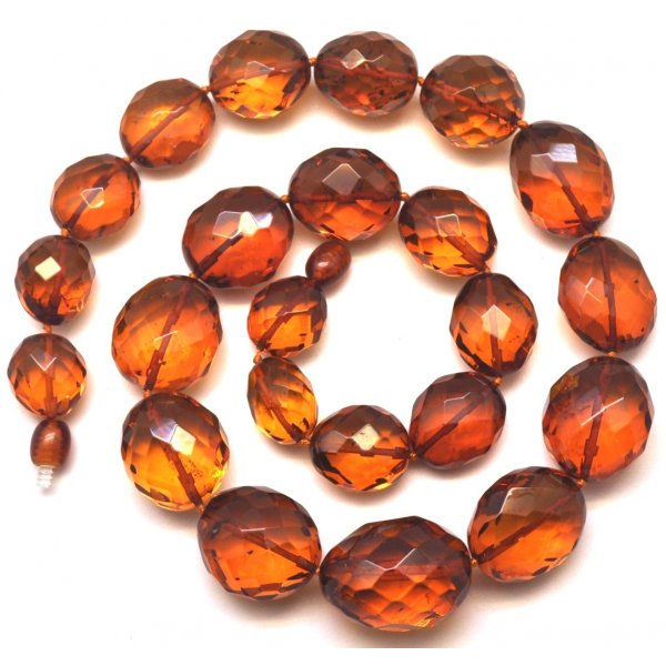 Big beads faceted amber necklace-AN2130