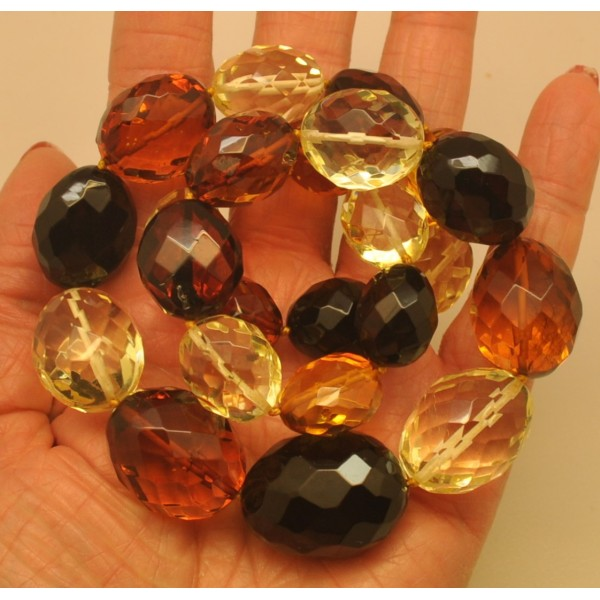Big beads faceted multicolor amber necklace-AN2131