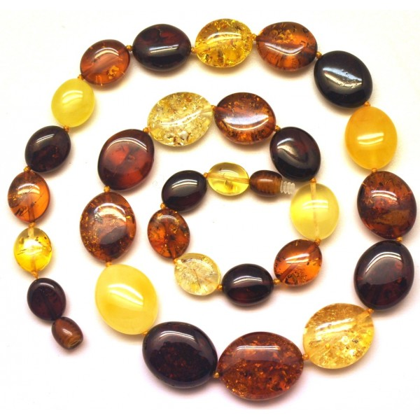 Multicolor Baltic amber necklace -AN2154