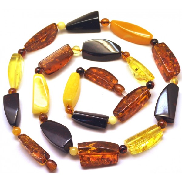 Multicolor faceted Baltic amber necklace -AN2135