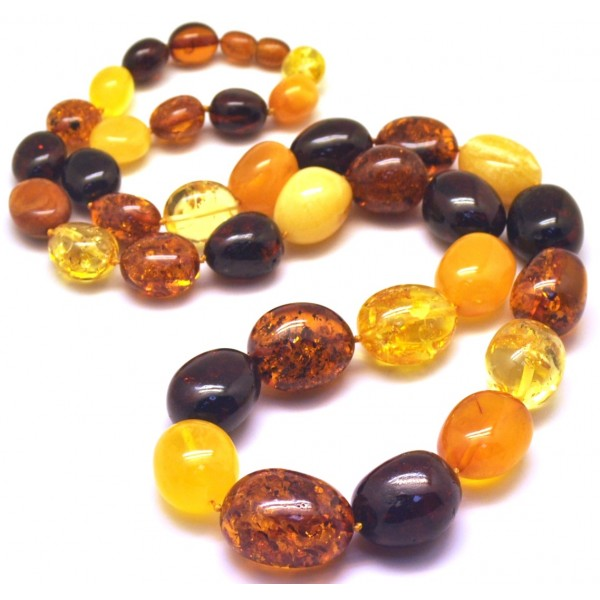 Multicolor long amber beads necklace 82g-AN2147