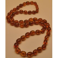 Olive shape long cognac  Baltic amber necklace