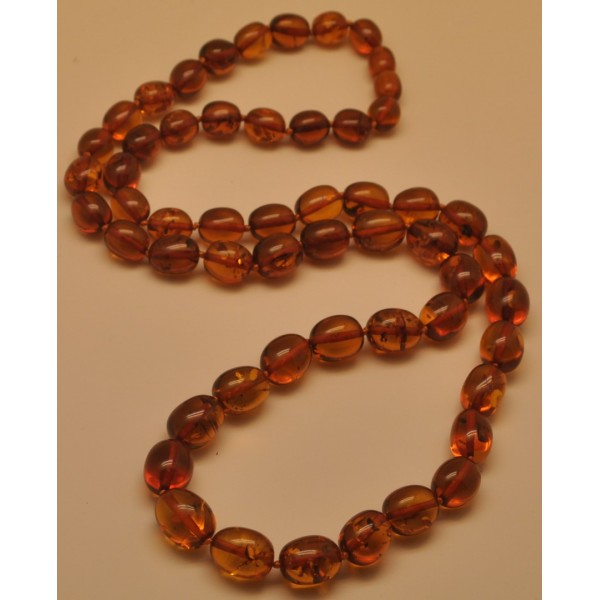 Olive shape long cognac Baltic amber necklace-AN2144