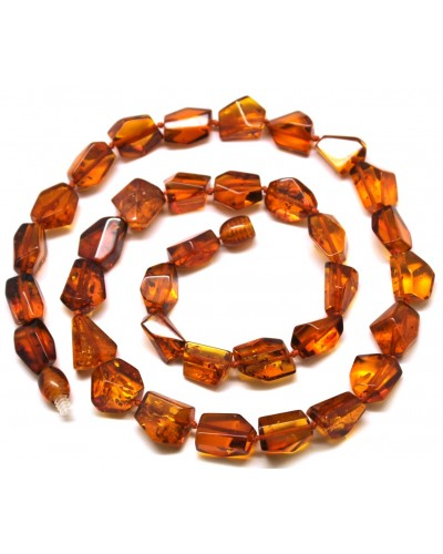 Short faceted cognac Baltic amber necklace