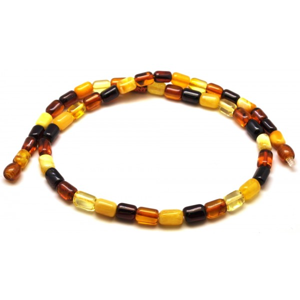 Amber necklaces | Multicolor barrel shape Baltic amber necklace
