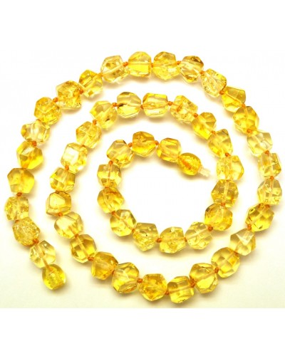 Short faceted lemon Baltic amber necklace