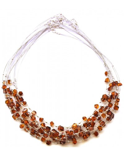 Lot of 10 faceted beads Baltic amber wire necklaces
