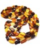 Amber necklaces | Lot of 5 multicolor Baltic amber beans necklaces