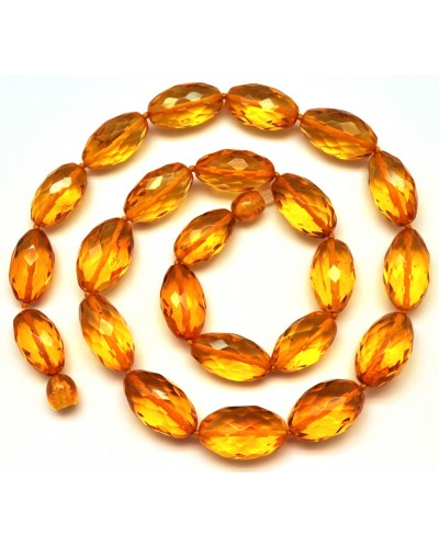 Faceted olive Baltic amber necklace