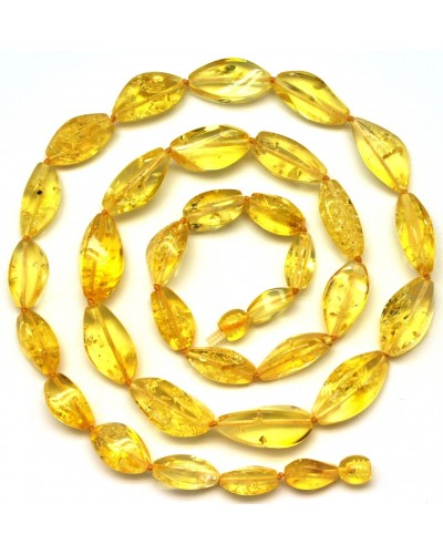Faceted lemon Baltic amber long necklace