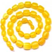 Barrel shape yellow Baltic amber necklace