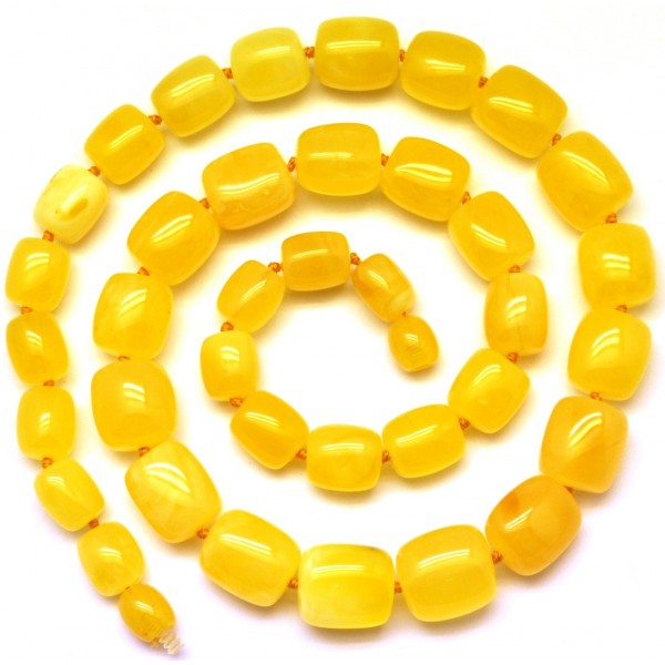 Amber necklaces | Barrel shape yellow Baltic amber necklace
