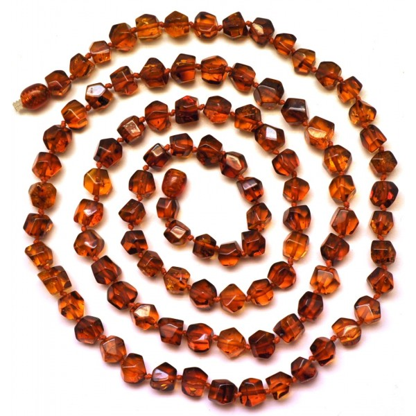 Long faceted Baltic amber necklace-AN1821