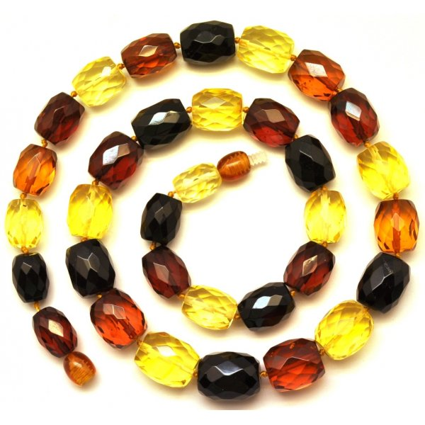 Multicolor faceted Baltic amber necklace -AN1849
