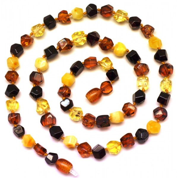 Short faceted Baltic amber necklace-AN1846