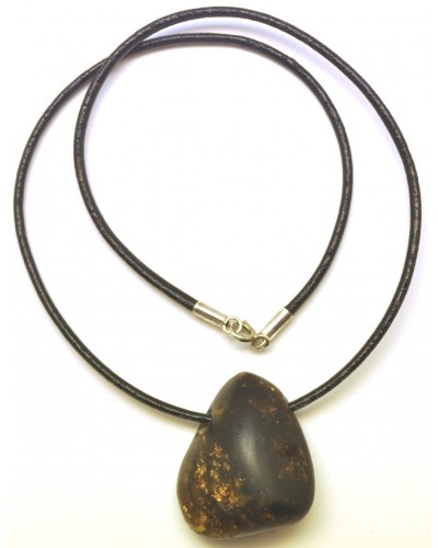 Raw Baltic amber pendant with leather