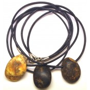Lot of 3 raw healing Baltic amber pendants with leather